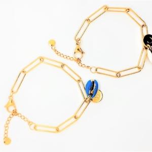 Schakel Armband Schelp met Naamletter Goud