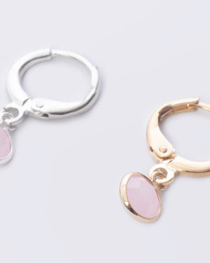 rose alabaster rond crystal glas oorbellen madhura bags goud en zilver
