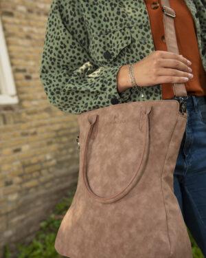shopper curvy donker bruin madhura bags