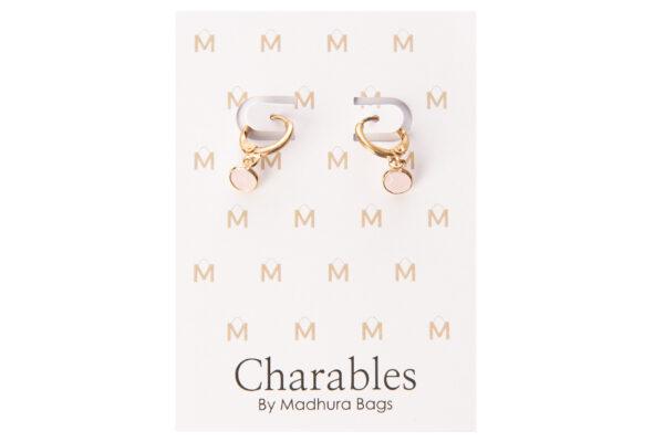 charables oorbellen rond roze goud crystal glas
