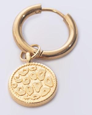 creool leopard skin rond goud madhura bags oorbellen