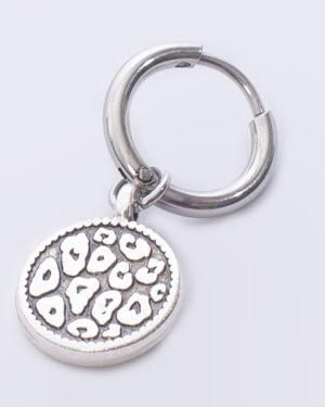 creool leopard skin rond zilver madhura bags oorbellen