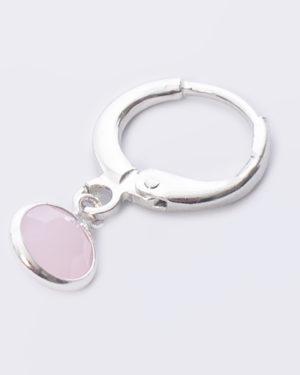 rose-alabaster rond crystal glas aan creool zilver madhura bags