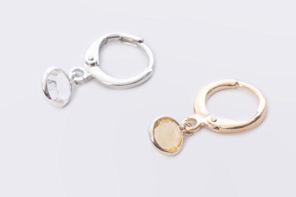 creoolo met crystal glas rond goud en zilver madhura bags oorbellen