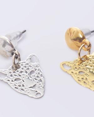 earpin leoprad hooft oorbellen goud en zilver madhura bags