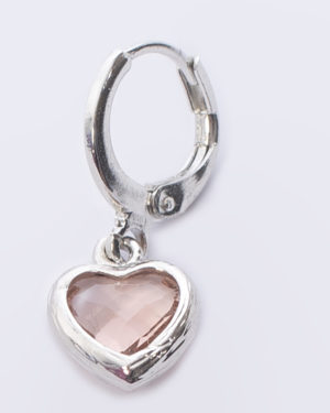 hafrt crystal glas roze oorbel zilver madhura bags