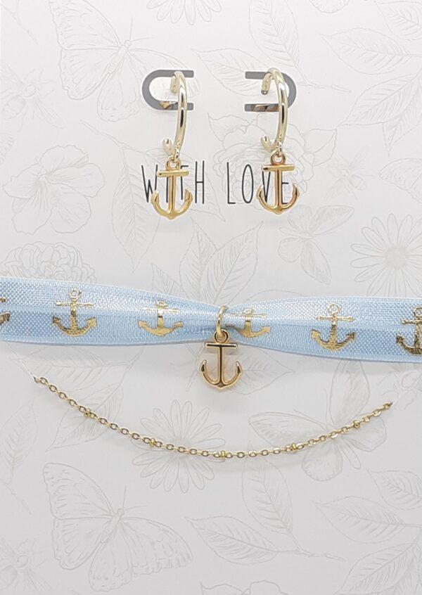 anker goud oorbellen met armband en elastisch lint madhura bags