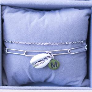 Schakel Armband Schelp met Naamletter Zilver